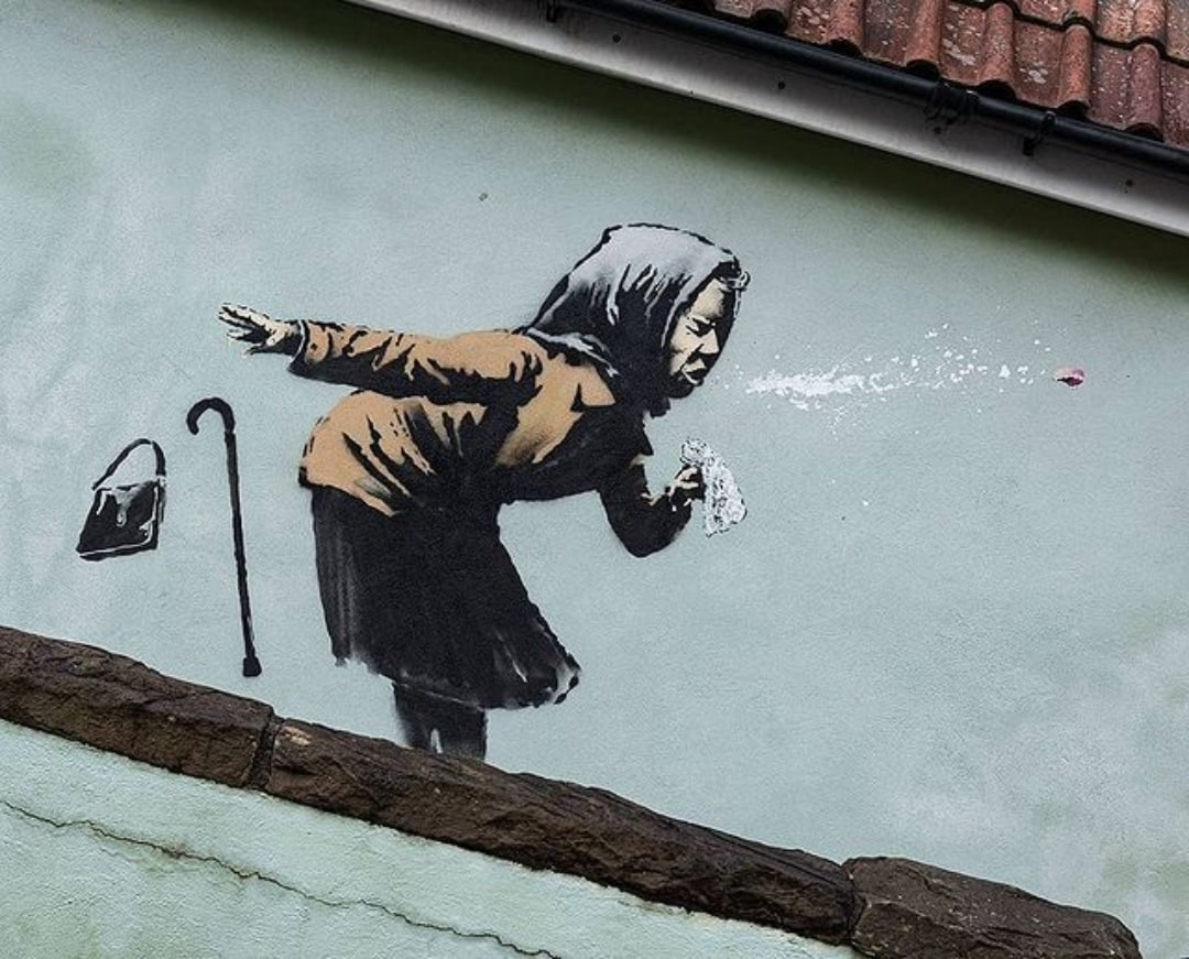 Banksy hace una alerta sobre los riesgos de no usar mascarilla en su nueva obra