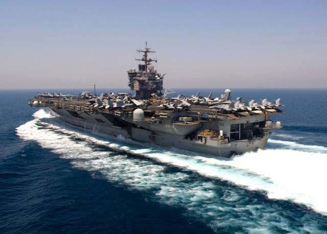 PERSIAN GULF (Aug. 17, 2007) - The nuclear-powered aircraft carrier USS Enterprise (CVN 65) transit through the Persian Gulf during flight operations. Enterprise and embarked Carrier Air Wing (CVW) 1 are currently underway on a scheduled six-month deployment. U.S Navy photo by Mass Communication Specialist Seaman Brandon Morris