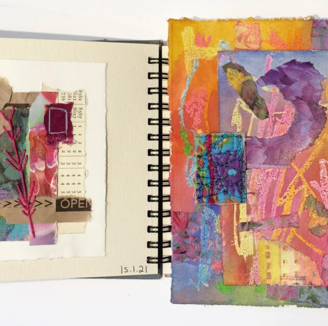 While participants in Winter Landscapes are getting their cool and frosty fabrics together ready to start on Monday (still time to join us!) I've been playing with colour and collage for my sketchbook. Just a little something, a moment of creativity!   The collage/paint papers are a technique from @suedove55 - ripped magazine papers, crayon, paint. Perfect for then cutting into smaller bits for instant gratification and design ideas!  The last pic: the difficulty I have taking photos in my studio - the lights are fantastic, but also utterly in the wrong place. The things you realise after it's years too late!