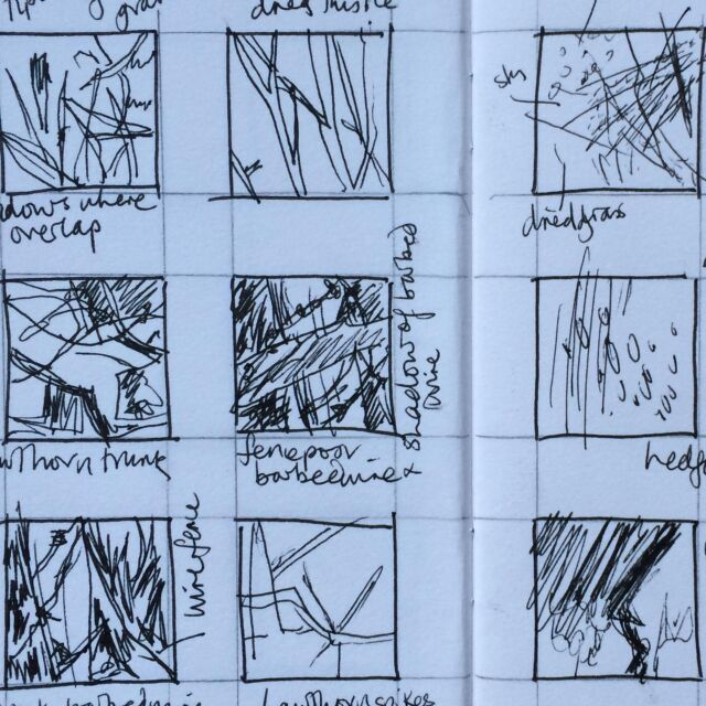 Thumbnail sketches. Golly it was cold out there, wind blowing from the north. Couldn't dally!  I'm taking a sketchbook course and a collage course at the moment, on top of other courses I'm still enrolled in. One is definitely going to lead to textiles (there's a textiles follow up) and the other one could translate to textiles.   As well as feeling overwhelmed with all the courses I'm taking (totally my own fault!) I'm finding it hard to keep up with both these Instagram accounts, especially as the lines are starting to blur - my textiles are izzymoore.art   My intention was to keep this one separate while I developed my voice, but actually, the separate accounts is hindering and not helping. I'm going to have to merge them soon I reckon, and it's going to be an interesting process! Not worked out how exactly 🧐  #palimpsestparadesketchingcourse