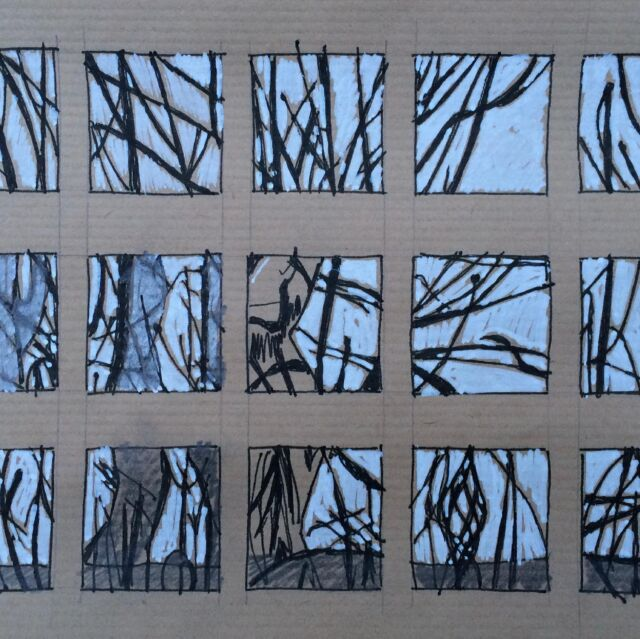 More little thumbnail sketches of the pollarded trees at the bottom of the garden. Just crying out for some reverse appliqué, no?!