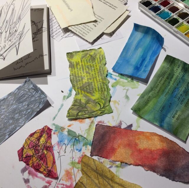 Back to the sketchbook and being stretched this week. Looking at layers, depth, spaces within...  I'm taking the next class with Tansy Hargan and this time we're going into textiles. I'll post about that over at izzymoore.art in due course.