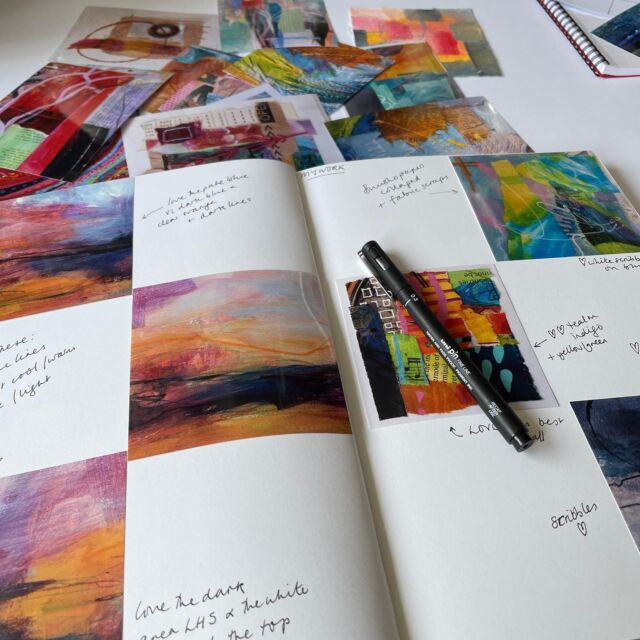 """Journaling day today, but I might get the paints out in a bit. I've been looking at my favourite """"creations"""" - both textiles and painting - and trying to work out why I like them, what it is about them, is there overlap?! What to do more of, less of…"""
