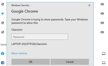 saved passwords on chrome windows PC