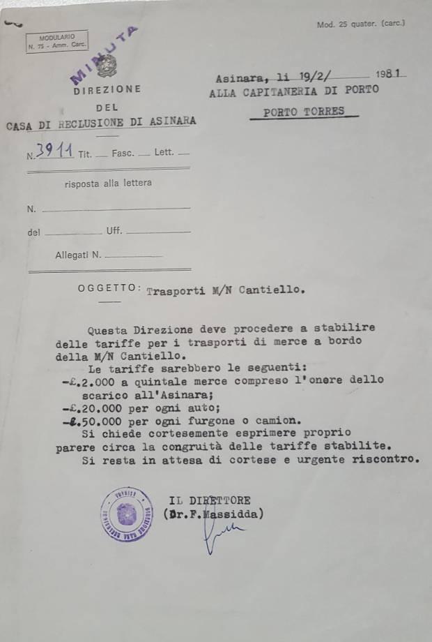 Richiesta del visto di congruità a firma del Direttore Francesco Massidda.