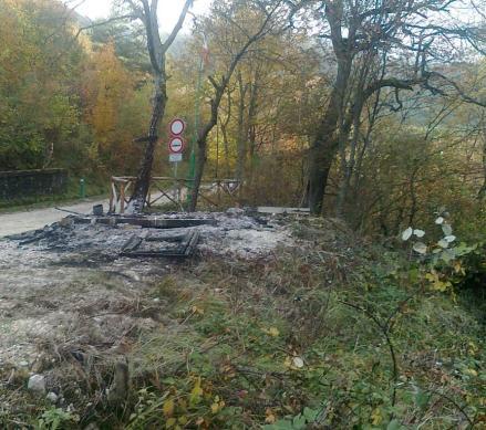 L'area dove era posizionata la struttura