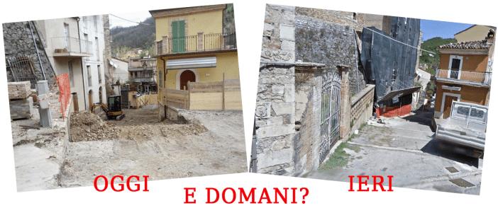 La situazione della scalinata del Torrione prima e durante i lavori
