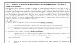 disclosing lead based paint