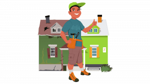 picture of handyman besides old and new side of house