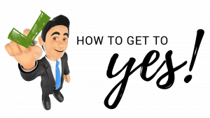 picture saying how to get to yes with a man holding a question mark