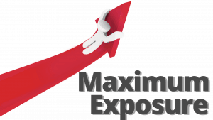 picture of arrow going up and text saying maximum exposure
