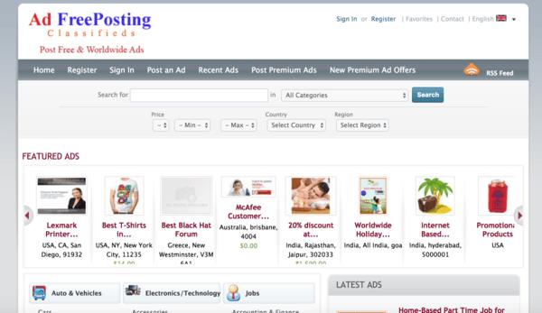 picture of addfreeposting.com homepage