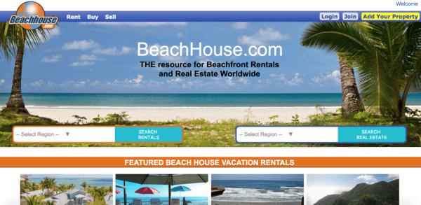 picture of beachhouse.com homepage