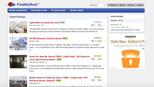 picture of findmyroof.com homepage