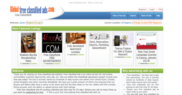picture of global-free-classified-ads.com homepage