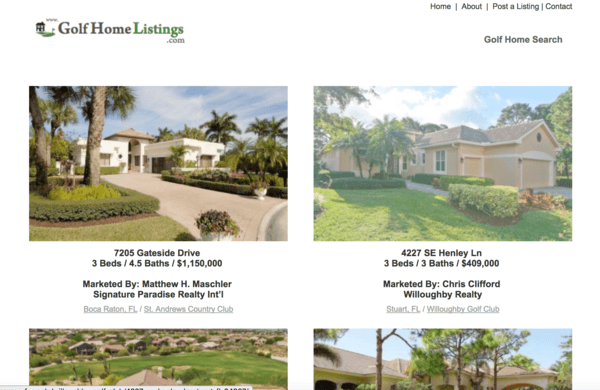 picture of golfhomelistings.com homepage