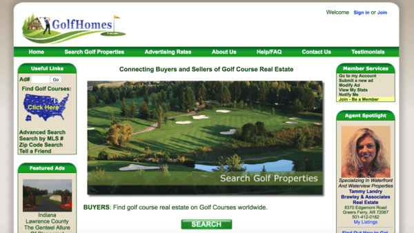 picture of golfhomes.com homepage