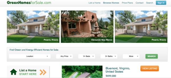 picture of greenhomesforsale.com homepage