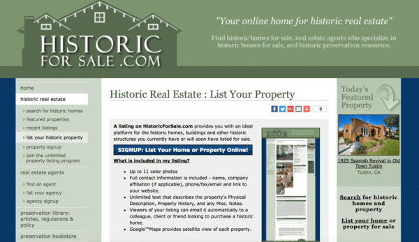 picture of historicforsale.com homepage