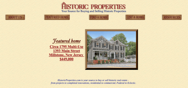 picture of historicproperties.com homepage
