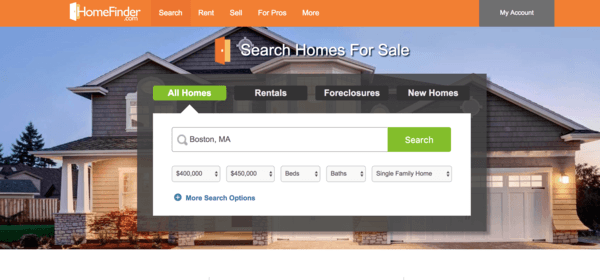 picture of homefinder.com homepage