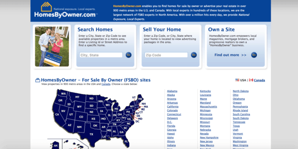 picture of homesbyowner.com homepage