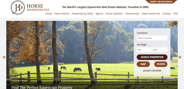 picture of horseproperties.net homepage