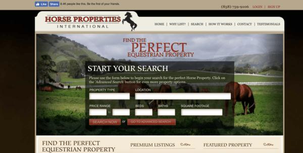 picture of horsepropertiesinternational.com homepage