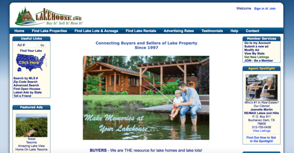 picture of lakehouse.com homepage