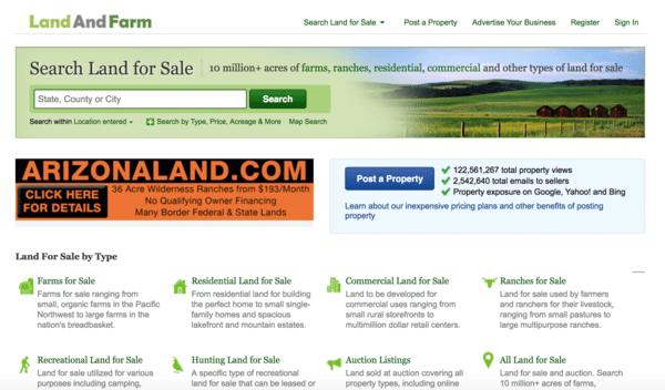picture of landandfarm.com homepage