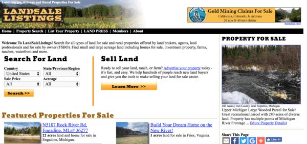picture of landsalelistings.com homepage