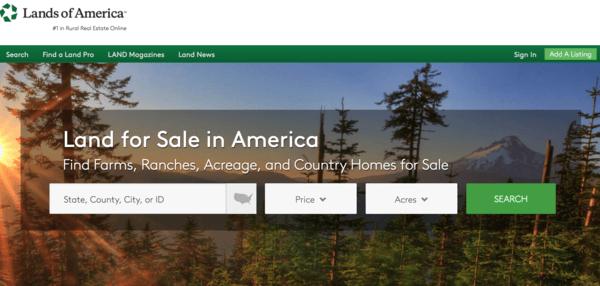 picture of landsofamerica.com homepage