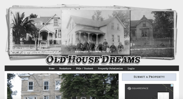 picture of oldhousedreams.com homepage