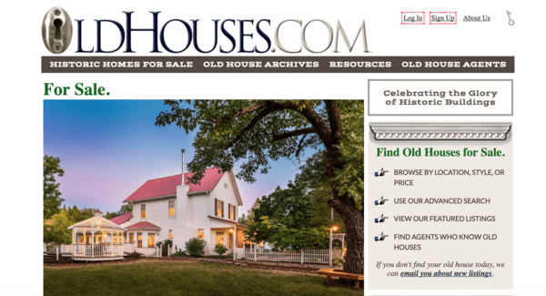 picture of oldhouses.com homepage