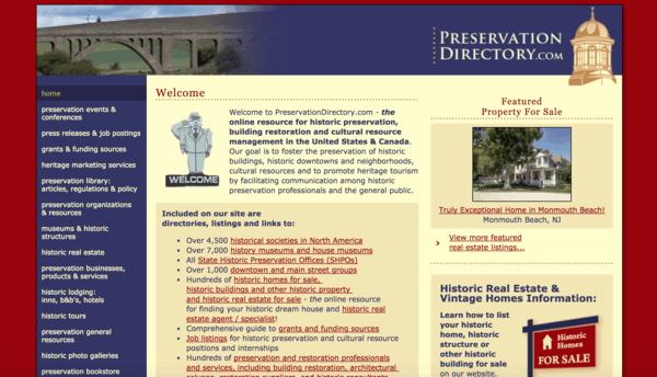 picture of preservationdirectory.com homepage