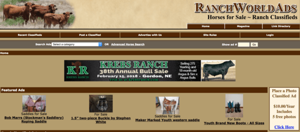 picture of ranchworldads.com homepage