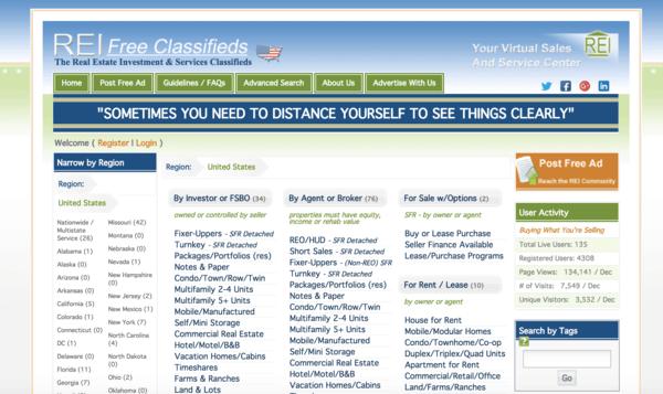 picture of reifreeclassifieds.com homepage