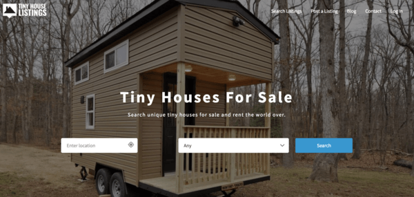 picture of tinyhouselistings.com hompage