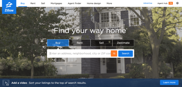 picture of zillow's homepage