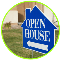 picture of an open house sign