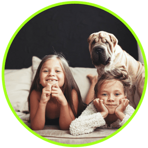 picture of children and pets in a home