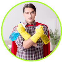 picture of man ready to clean