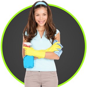 picture of a woman ready to clean