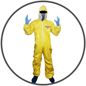 picture of walter white in chemical suit