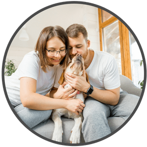 picture of happy dog and family