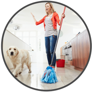 picture of a woman mopping the floor with a dog