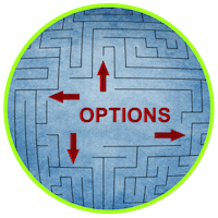picture of a maze and the word options