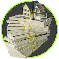 picture of house on top of cash pile