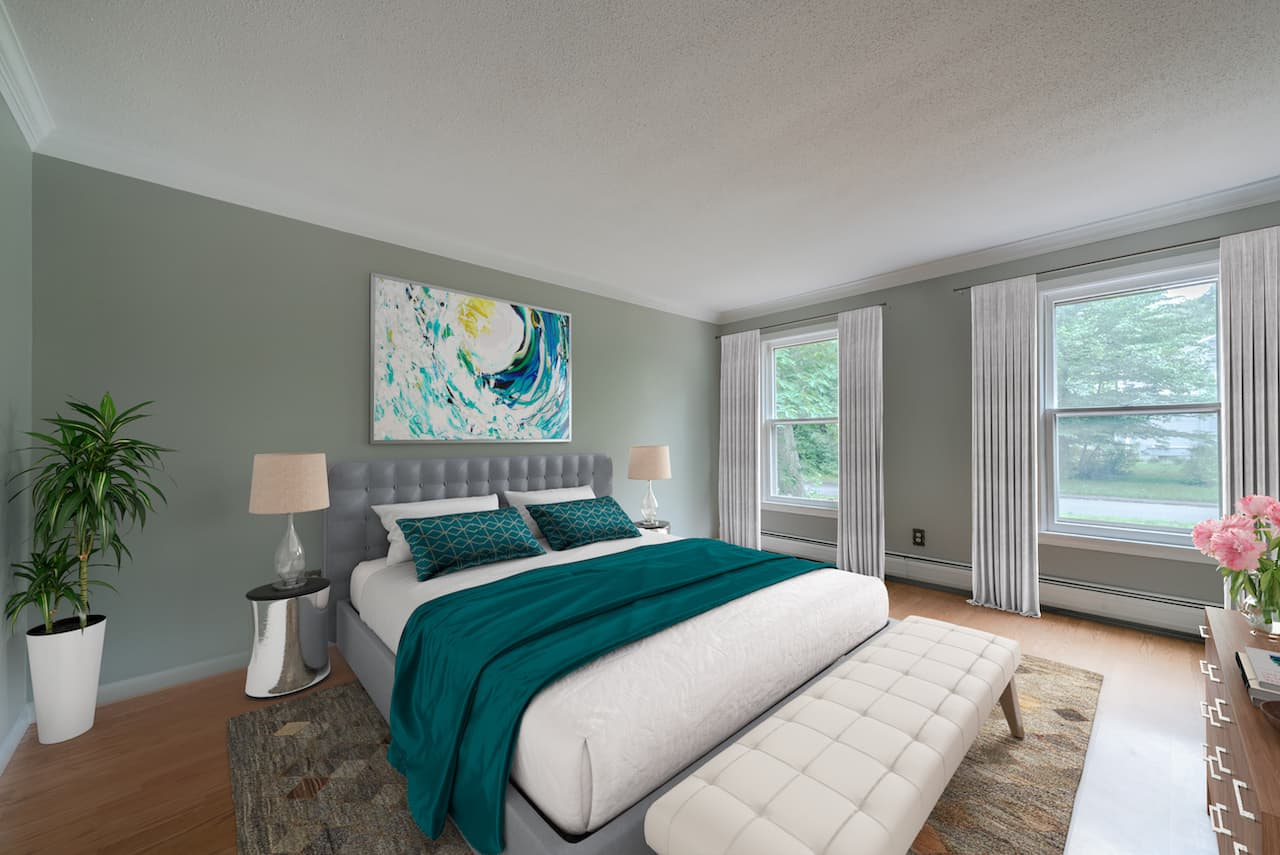 picture of virtually staged bedroom by Hasten
