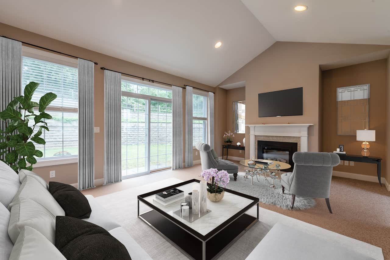 picture of virtually staged living room by Hasten